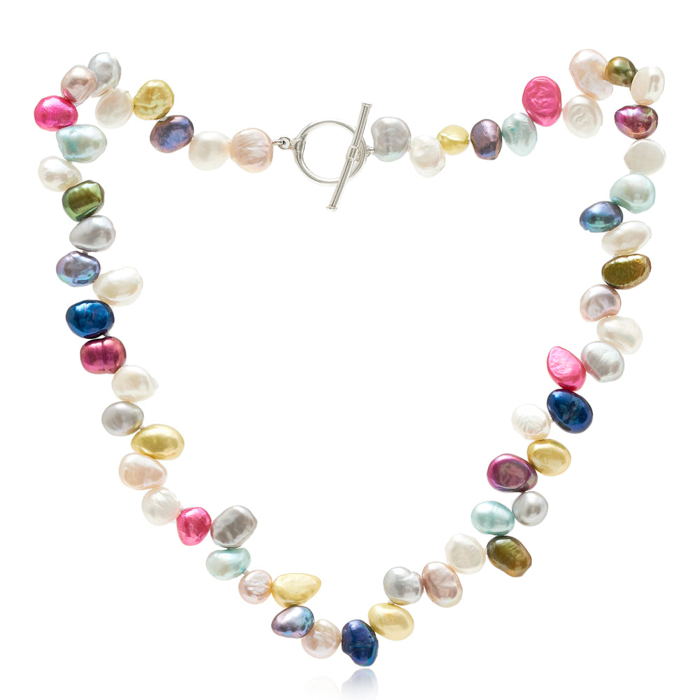 Magarita mixed colour side-drilled irregular cultured freshwater pearl necklace