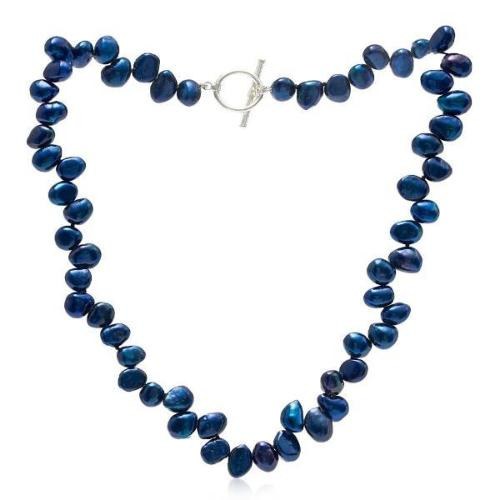 Single strand navy side-drilled irregular cultured freshwater pearl necklace