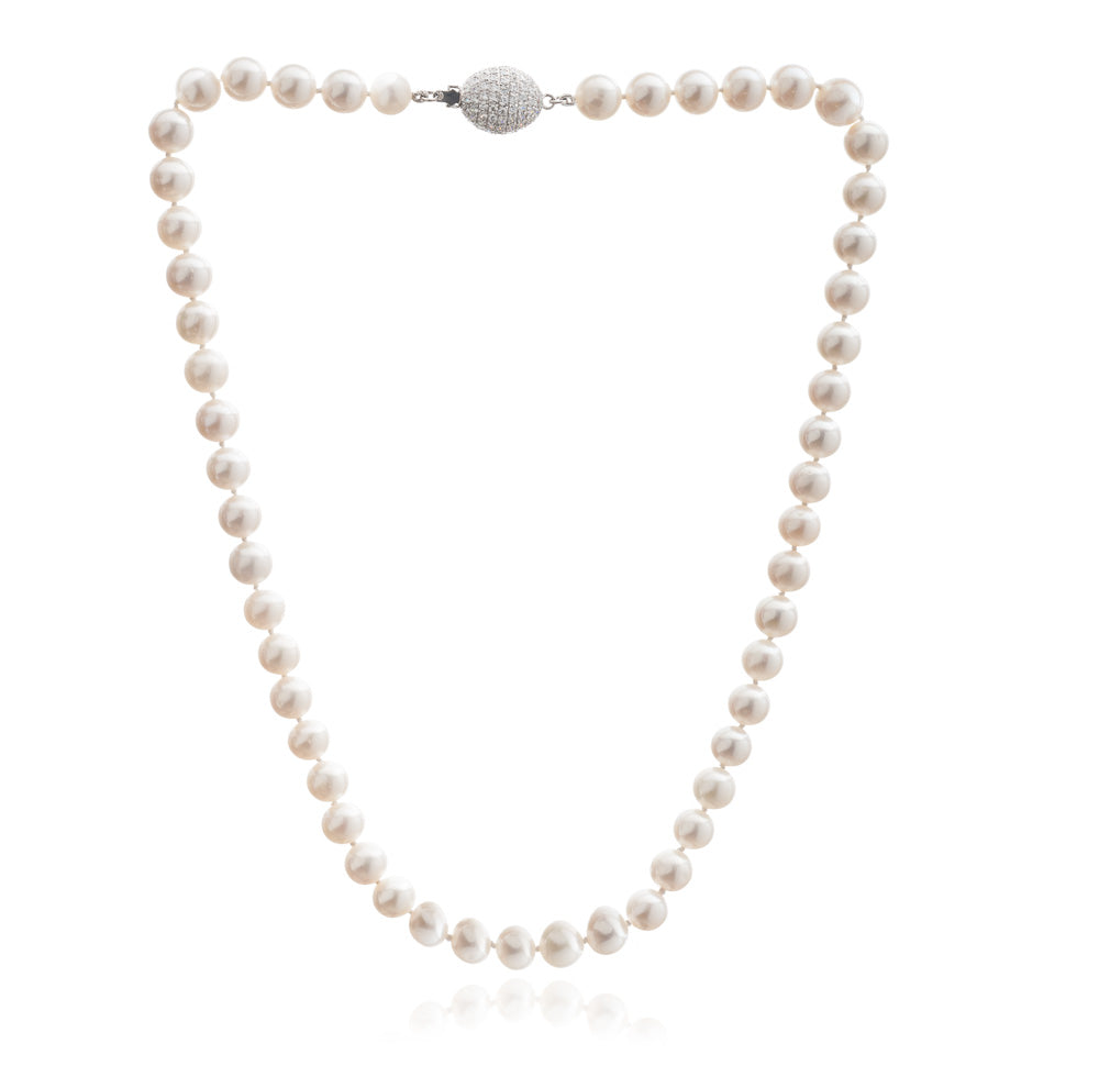 Gratia almost round cultured freshwater pearl necklace with sparkle oval clasp