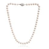 Single strand almost round cultured freshwater pearl necklace with sparkle oval clasp