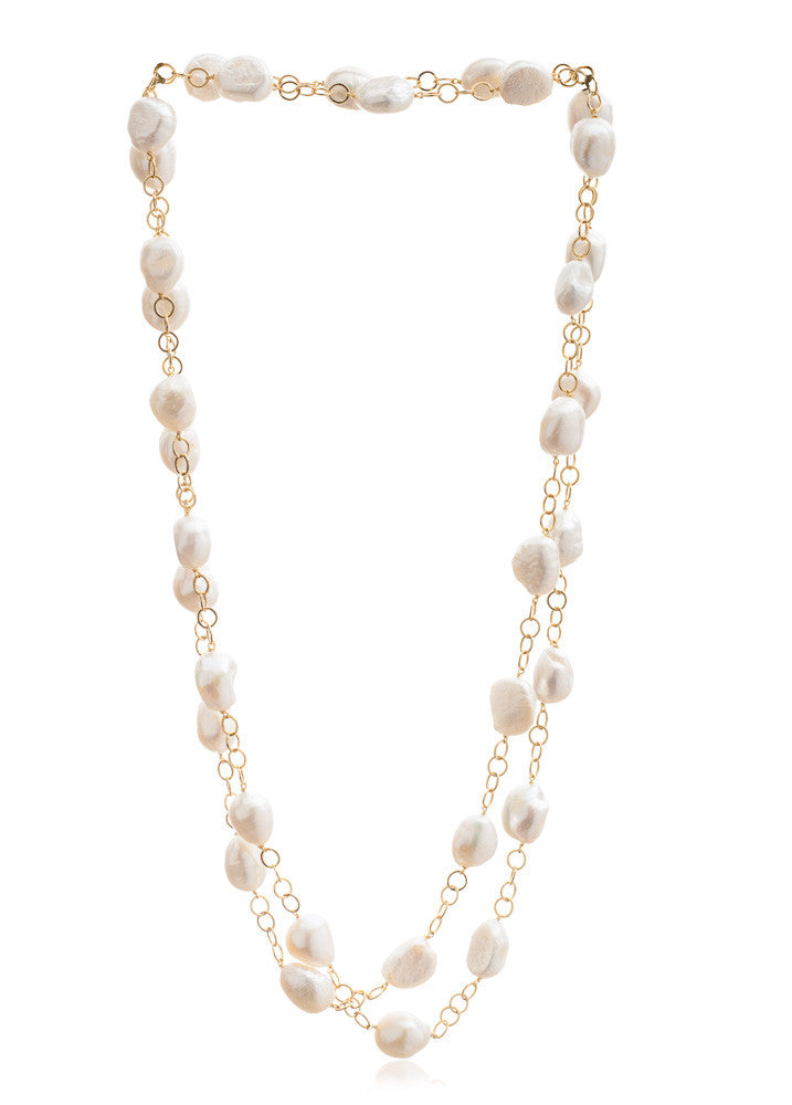 Decus cultured irregular freshwater pearl long gold plate chain necklace