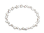 Decus cultured irregular freshwater pearl long chain silver necklace