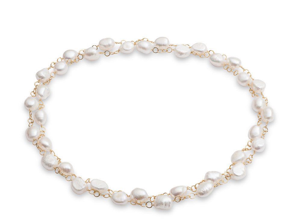 Cultured irregular freshwater pearl long gold plate chain necklace