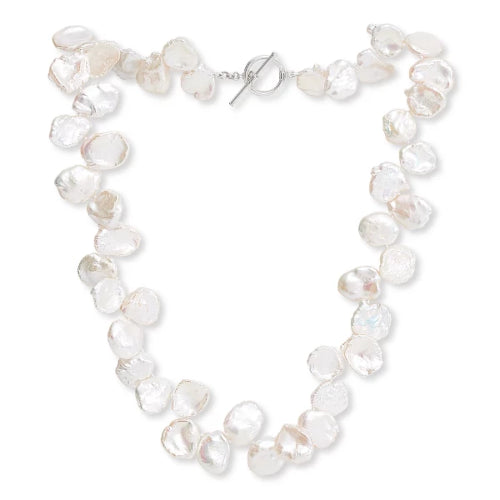 Large iridescent white keishi pearl necklace