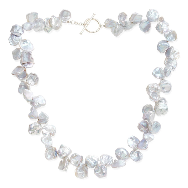 Decus large iridescent silver grey keishi pearl necklace