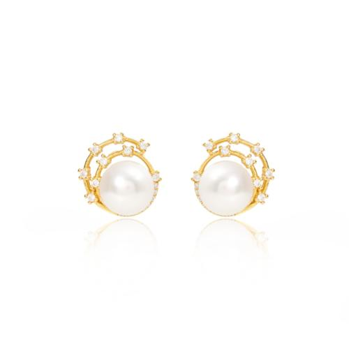 Stella cultured freshwater pearl stud earrings with gold sparkle swirl