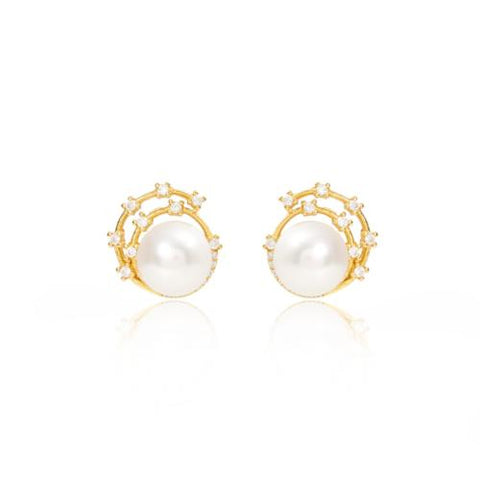Cultured freshwater pearl stud earrings with gold sparkle swirl