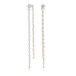 Credo silver chain & cultured freshwater pearl drop earrings