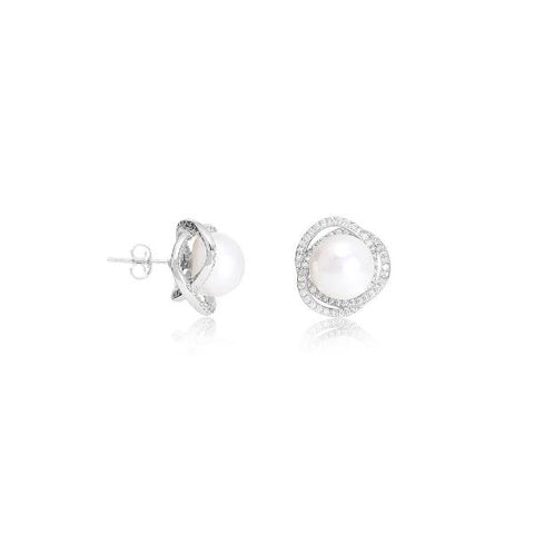 Cultured freshwater pearl stud earrings with pave swirl surround