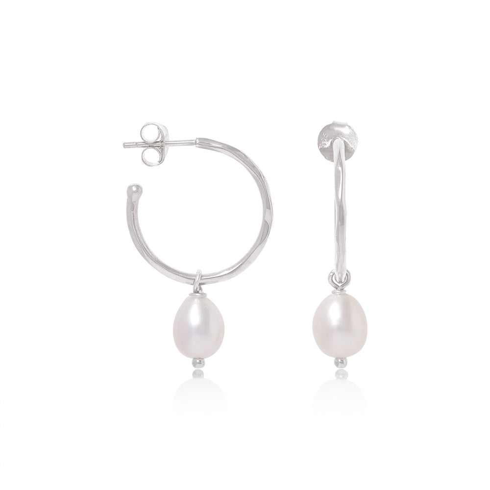 Gratia large Silver Hoop Earrings with Cultured Freshwater Pearl Drops