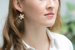 Brushed Gold Daisy Drop Earrings