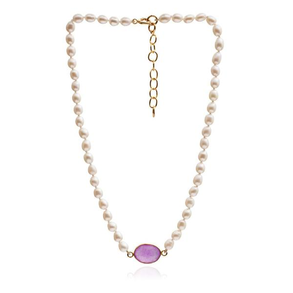 Clara single strand cultured oval freshwater pearl necklace with lavender chalcedony gold vermeil pendant