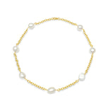 Credo 9kt gold chain necklace with cultured irregular freshwater pearls
