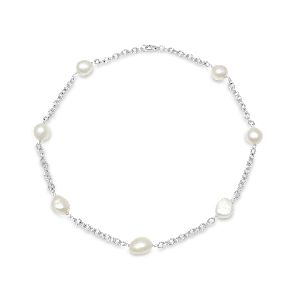Sterling silver necklace with cultured irregular freshwater pearls