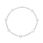 Credo silver necklace with cultured irregular freshwater pearls