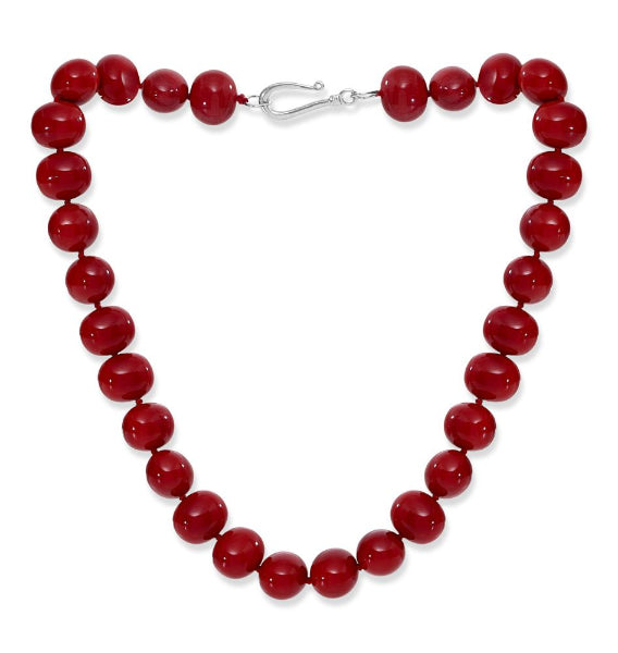 Large chunky red Mother Of Pearl Necklace