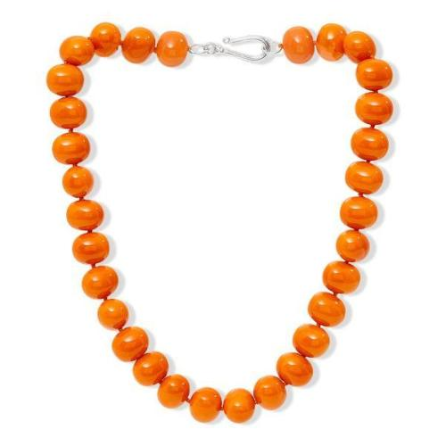 Large chunky orange Mother Of Pearl Necklace