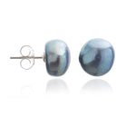 Margarita black irregular cultured freshwater pearl stud earrings