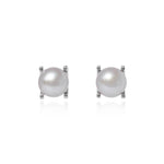Margarita grey cultured freshwater pearl stud earrings in silver claw settings