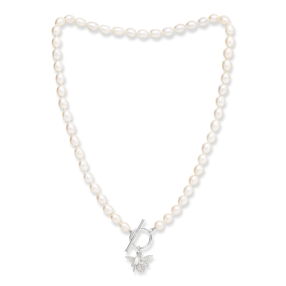 Cultured Freshwater Pearl Necklace With Silver Bumble Bee