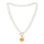 Vita cultured Freshwater Pearl Necklace with Gold Cherry Blossom Charm