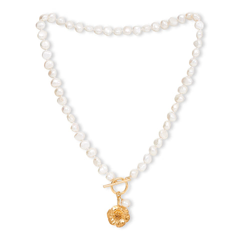 Cultured Freshwater Pearl Necklace with Gold Cherry Blossom Charm