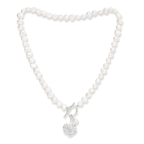 Cultured Freshwater Pearl Necklace with Silver Cherry Blossom Charm