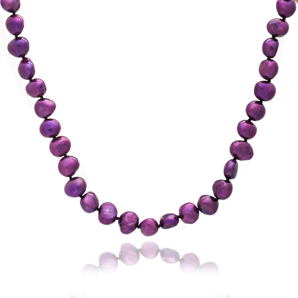 Single strand red-purple irregular cultured freshwater pearl necklace