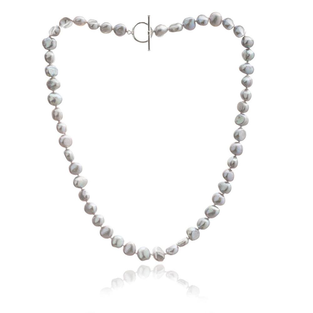 Margarita silver grey irregular cultured freshwater pearl necklace