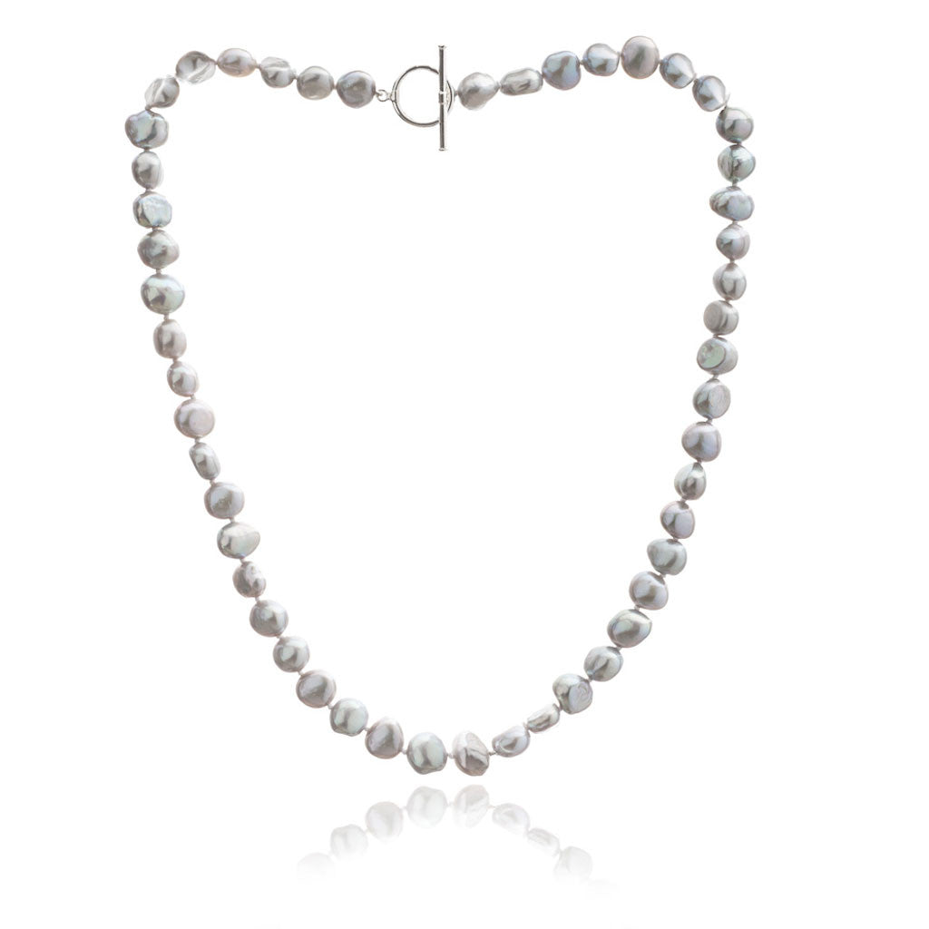 Single strand silver grey irregular cultured freshwater pearl necklace