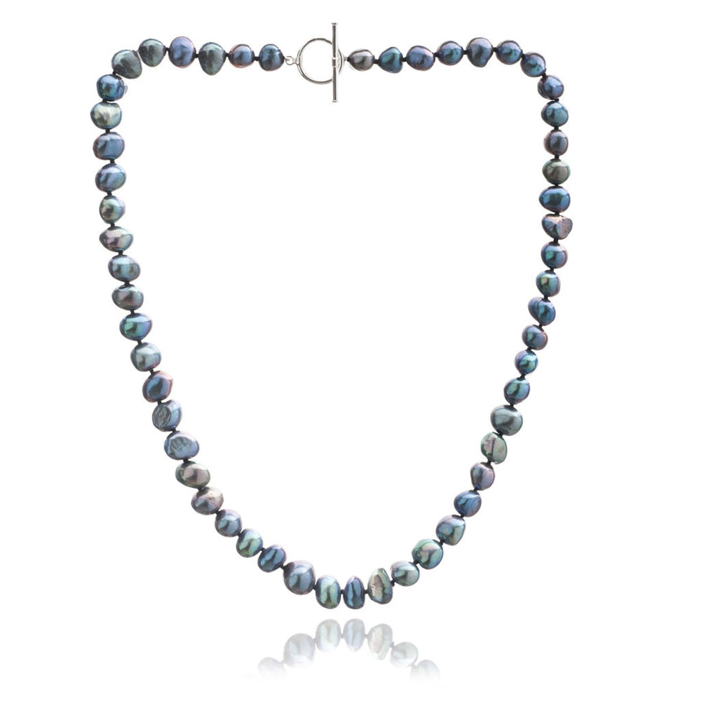 Margarita black irregular-shaped cultured freshwater pearl necklace