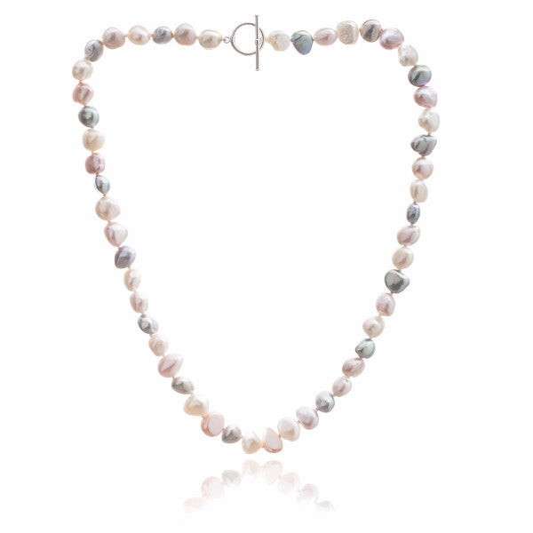 Single strand pink, grey & white irregular cultured freshwater pearl necklace