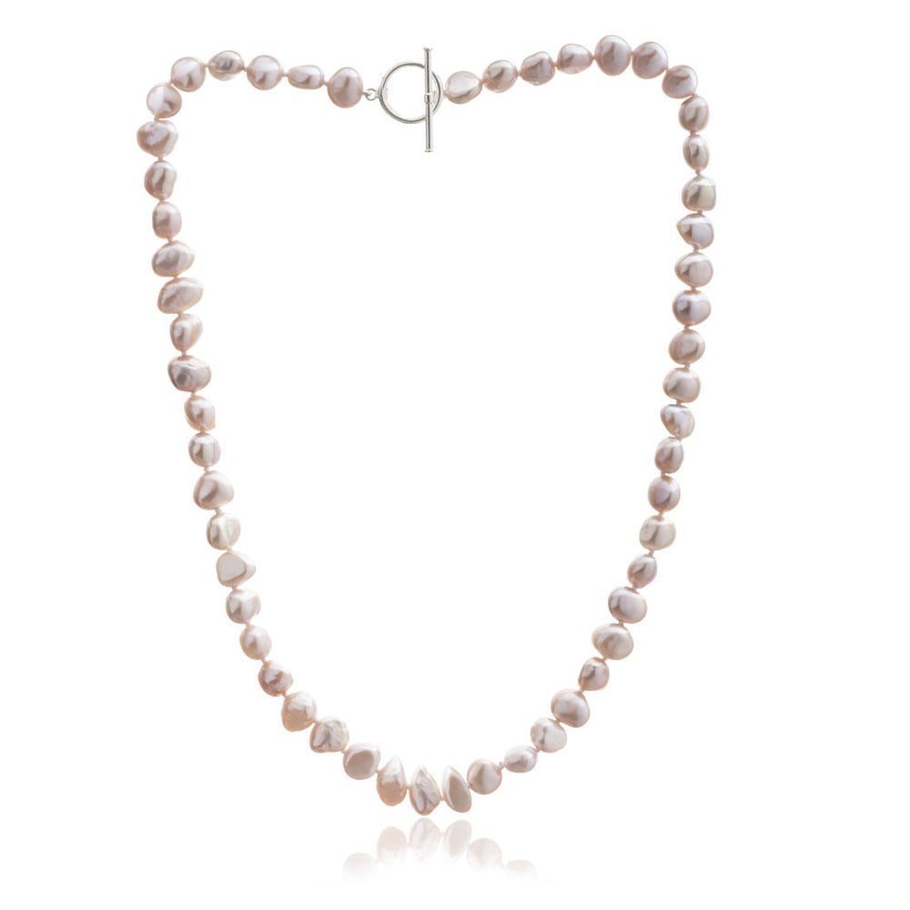 Margarita pink irregular cultured freshwater pearl necklace