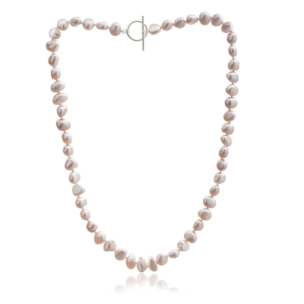 Single strand pink irregular cultured freshwater pearl necklace