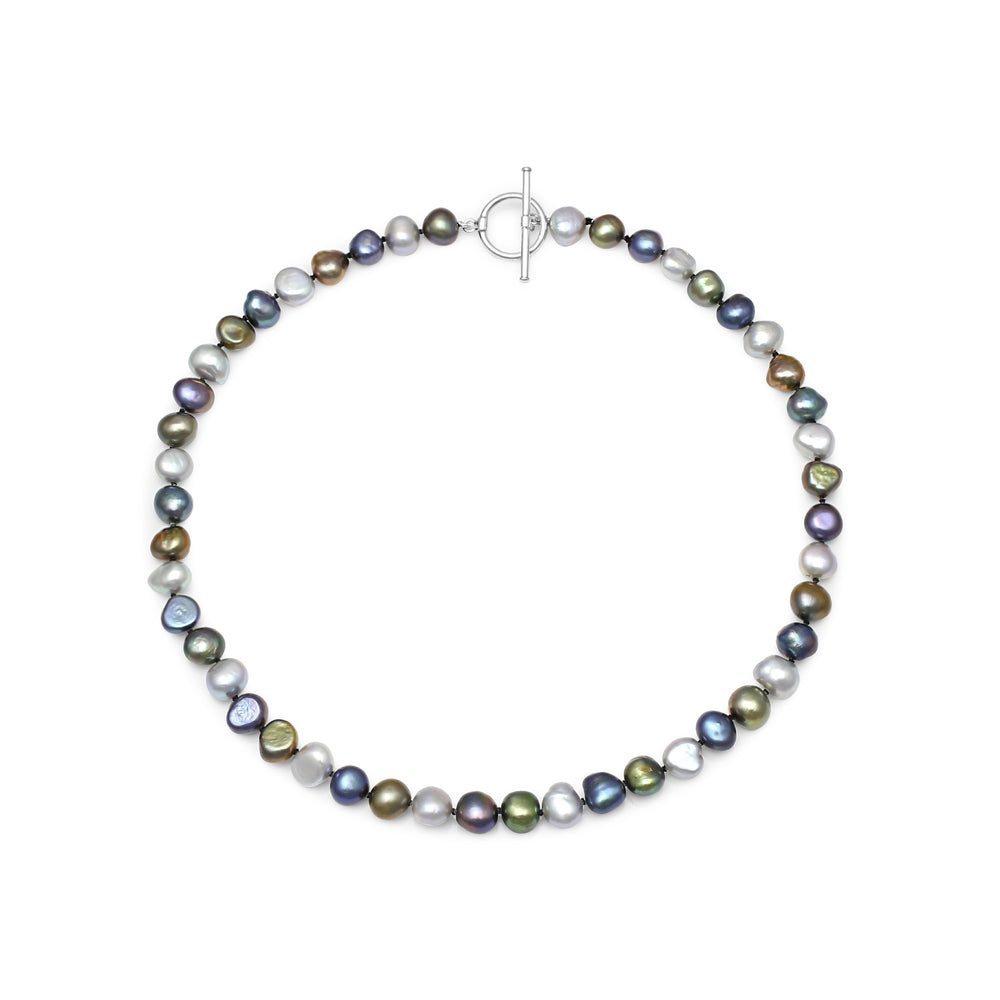 Margarita black, silver grey & dark green irregular cultured freshwater pearl necklace