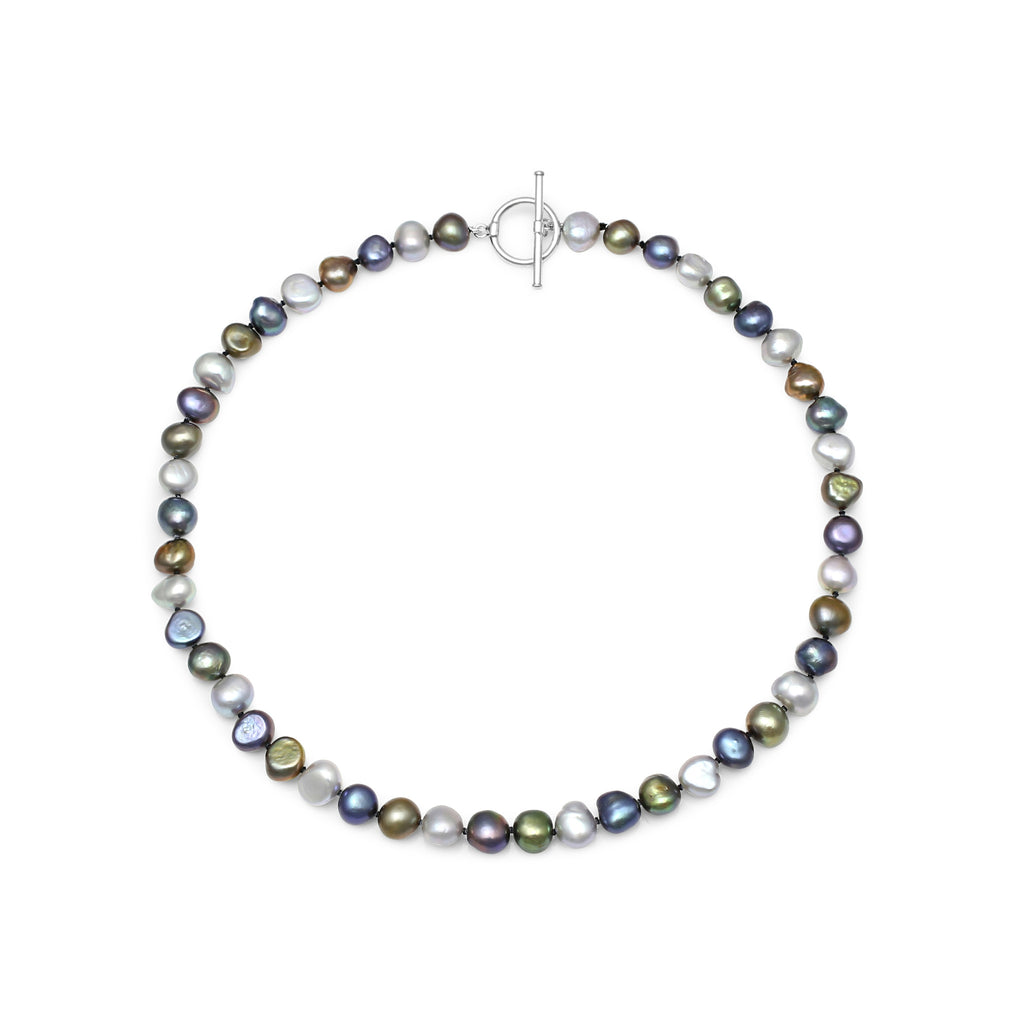 Single strand black, silver grey & dark green irregular cultured freshwater pearl necklace