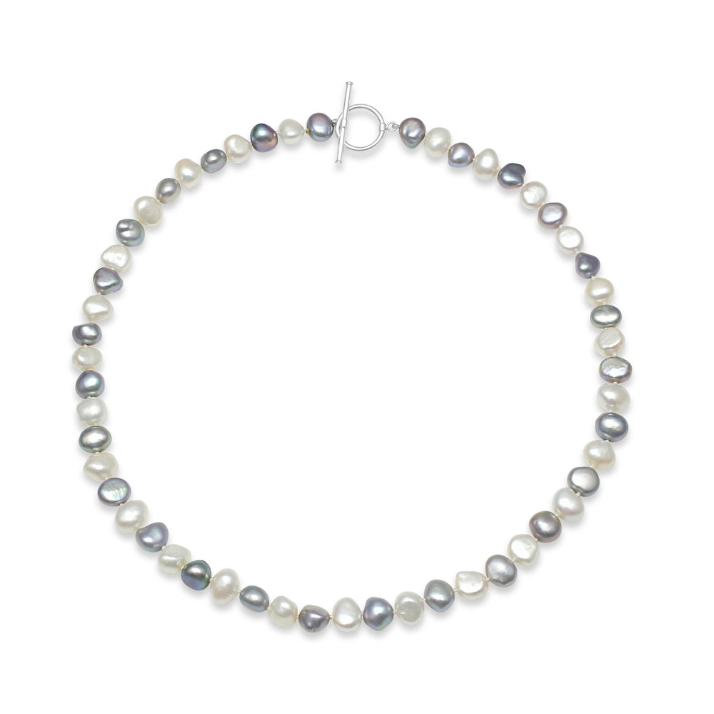Margarita grey & white irregular-shaped cultured freshwater pearl necklace