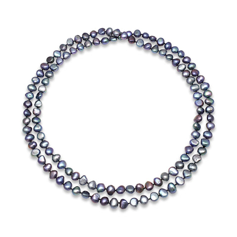 Black cultured freshwater pearl loop necklace