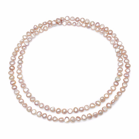 pink irregular cultured freshwater pearl loop necklace