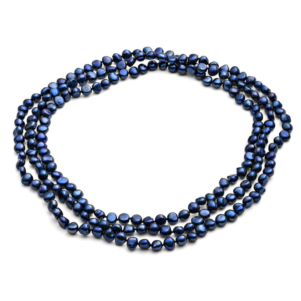 "64"" navy blue irregular cultured freshwater pearl loop necklace"