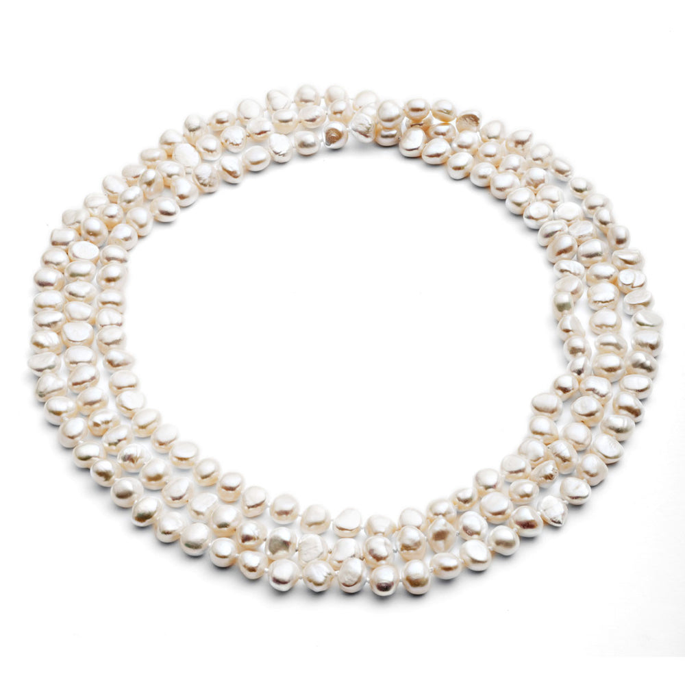 "Margarita 64"" white irregular cultured freshwater pearl loop necklace"