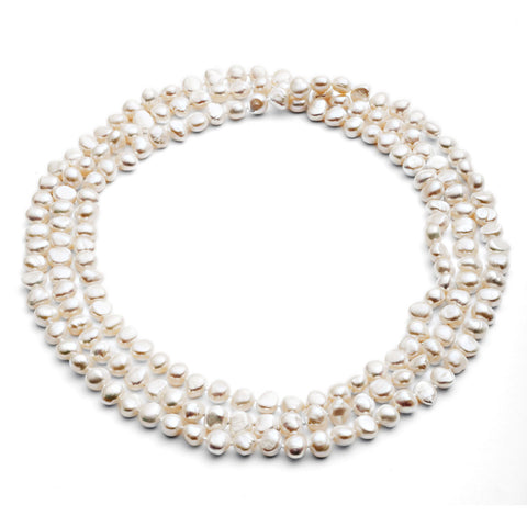 "64"" white irregular cultured freshwater pearl loop necklace"