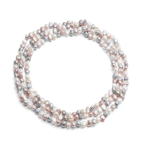 "64"" pink, grey & white irregular cultured freshwater pearl loop necklace"
