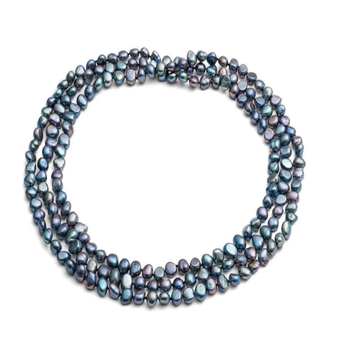 "64"" black irregular cultured freshwater pearl loop necklace"