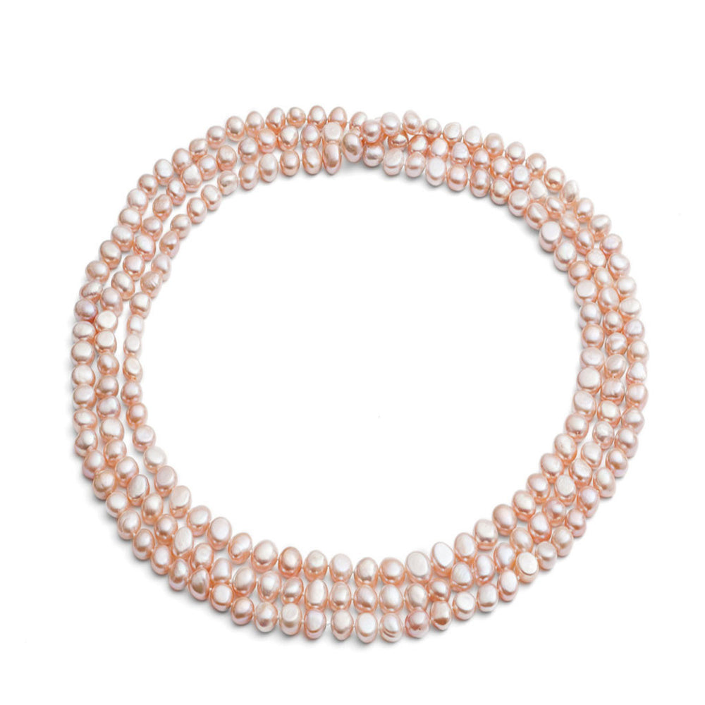 "Margarita 64"" pink irregular cultured freshwater pearl loop necklace"