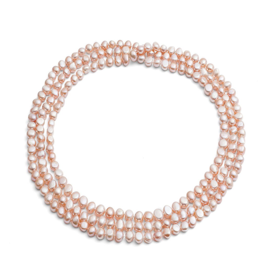 "64"" pink irregular cultured freshwater pearl loop necklace"