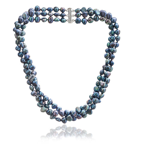 Triple strand black cultured freshwater pearl necklace