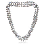 Triple strand grey cultured freshwater pearl necklace