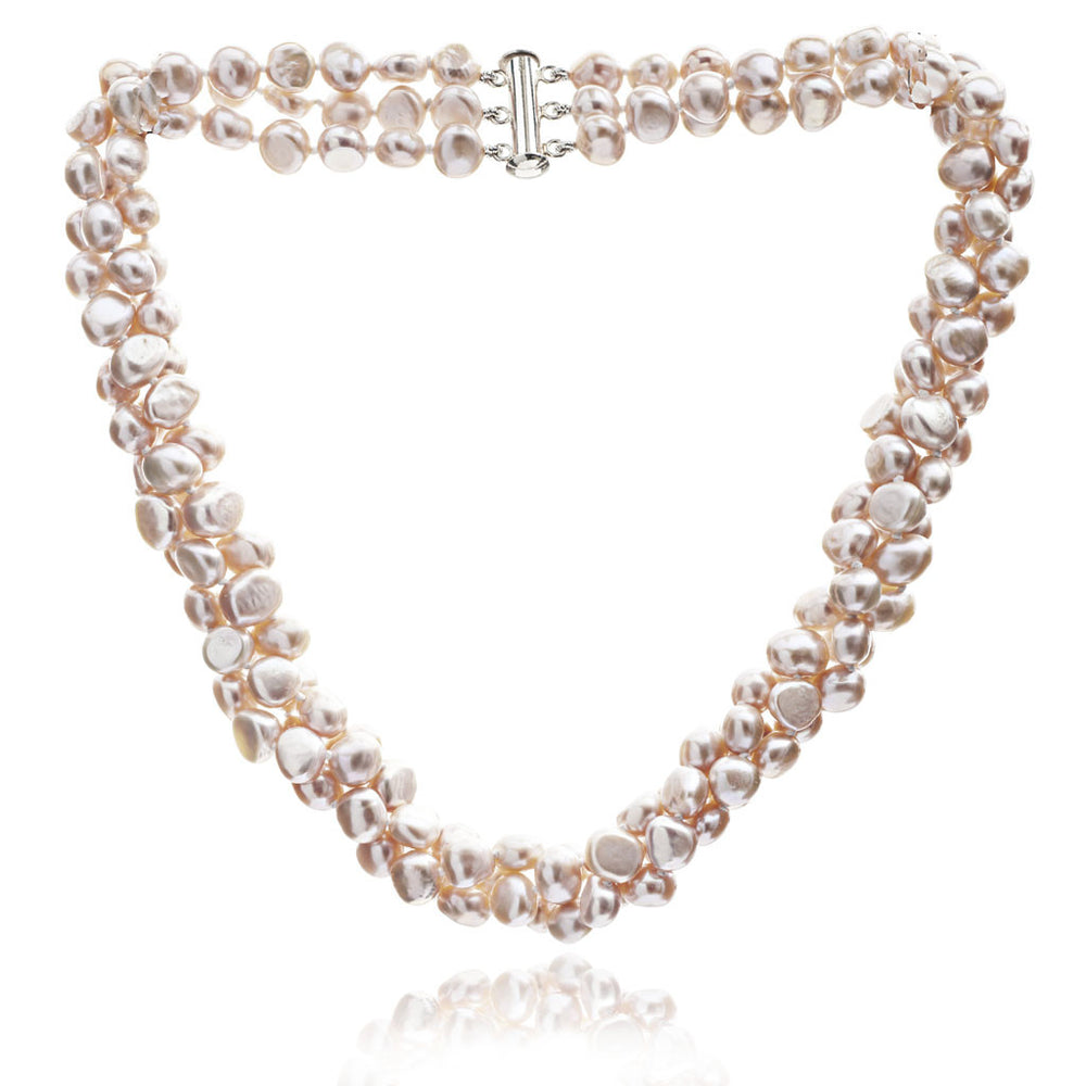 Margarita triple strand pink cultured freshwater pearl necklace