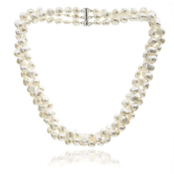Triple strand cultured freshwater pearl necklace
